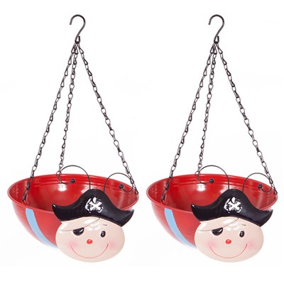 Pair of Pirate Wobblehead Hanging Baskets 32cm