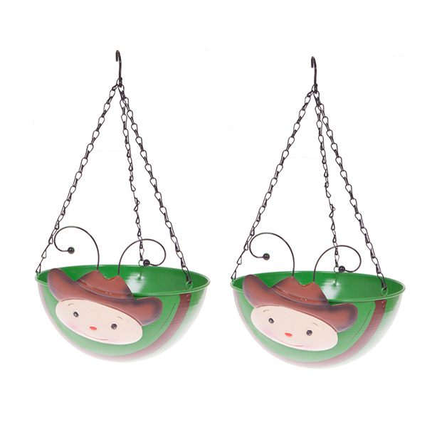 Pair of Cowboy Wobblehead Hanging Baskets 32cm No Colour