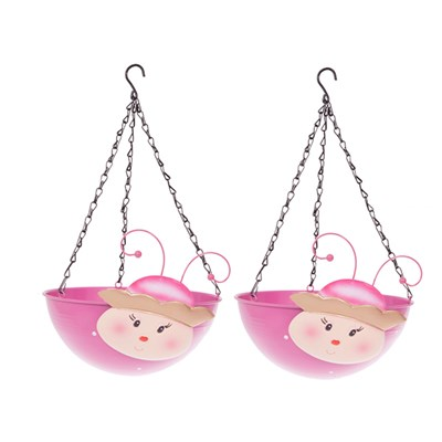 Pair of Princess Wobblehead Hanging Baskets 32cm
