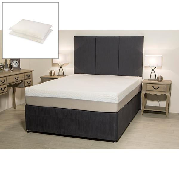 Sleep Genie Quadcore Double Mattress with 2 free Ultimate Comfort Memory Wrap Pillows No Colour