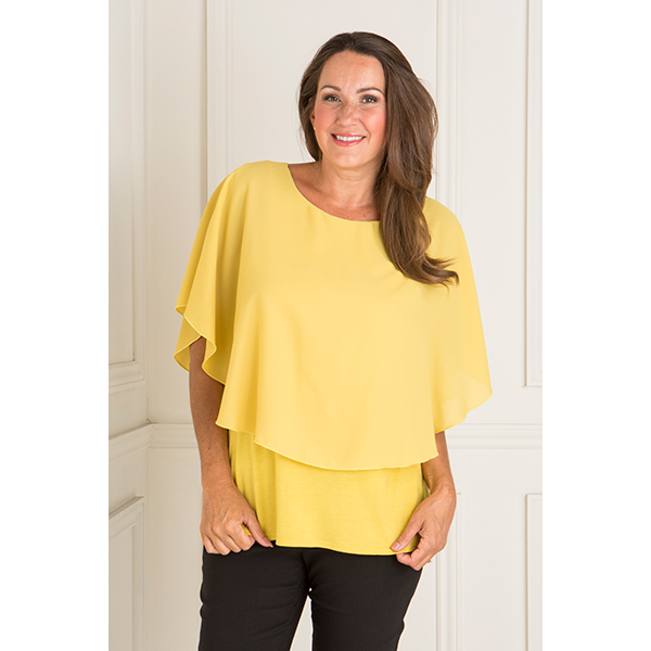 Nicole Georgette Cape Top Chartreuse