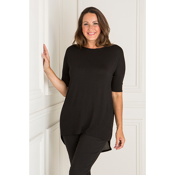 Nicole Georgette Back Insert Top Black