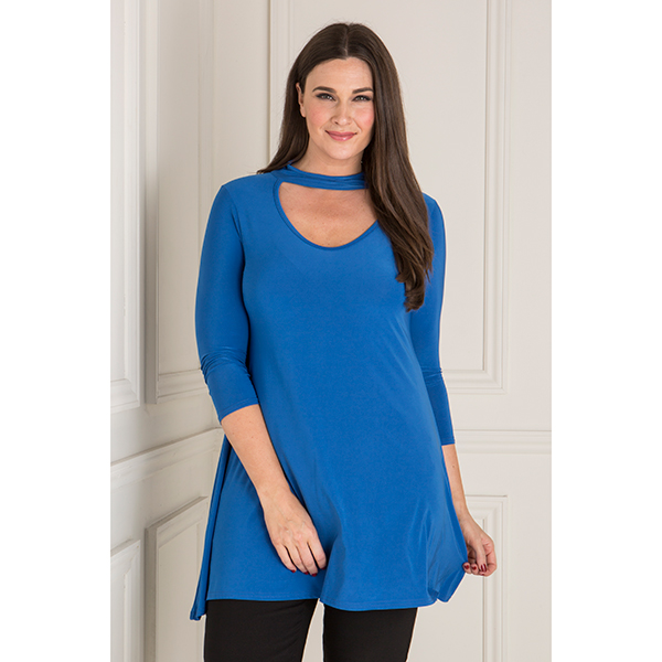 Nouvelle Soft Touch Choker Neck Swing Tunic Royal