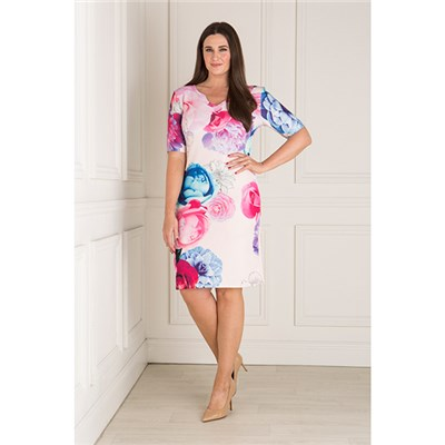 Nouvelle Floral Notch Neck Short Sleeve Scuba Dress