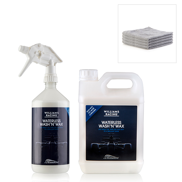 Williams Racing Waterless Wash and Wax 3.5L Pack - 1L Trigger Bottle, 2.5L Refill, 4 Premium Microfibre Cloths