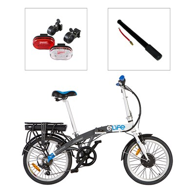 E-Life Voyage 6sp 36v 250w Electric Folding Bike 20inch Wheel with FREE Smart LED Front and Rear Light Set and Coyote Bike Pump