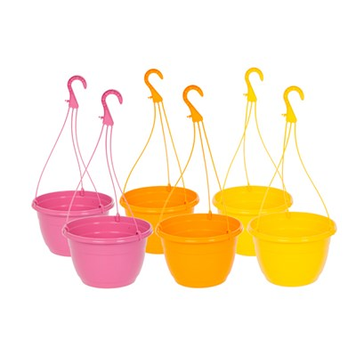 Set of 6 Colourful Hanging Baskets 28cm