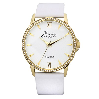 Annie Apple Timeless Ladies' Watch with Swarovski Stones and Genuine Leather Strap