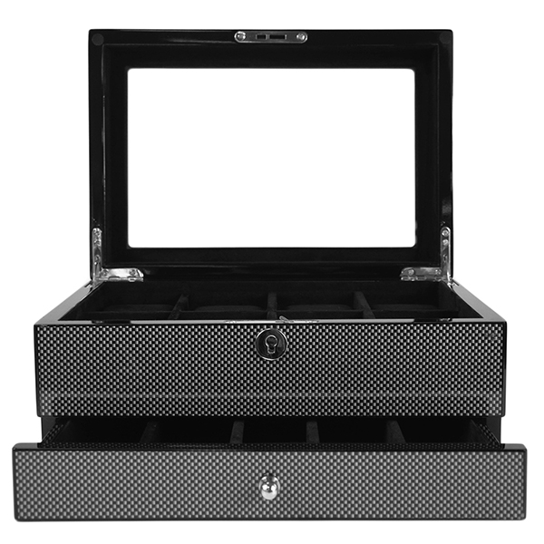 Kennett 8 Slot High Quality Ivory Velvet Wooden Carbon Fibre Watch Box Black