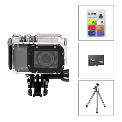Activeon CX HD Pocket Action Camera with Waterproof Case, 8GB Micro SD Card, Faceplate Kit and Free Mini Tripod
