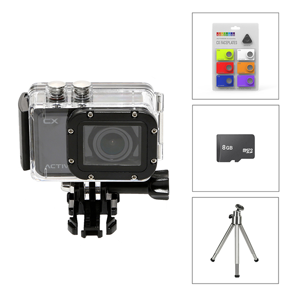 Activeon CX HD Pocket Action Camera with Waterproof Case, 8GB Micro SD Card, Faceplate Kit and Free Mini Tripod No Colour