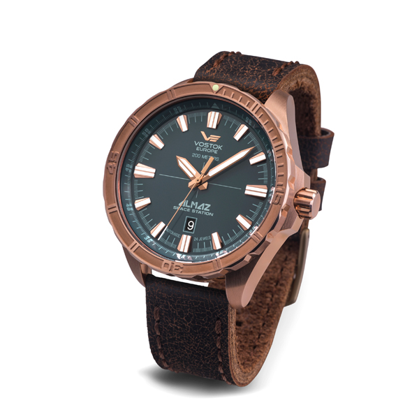 Vostok Europe Gent's Almaz Automatic Watch with Bronze Case and Genuine Leather Strap Blue