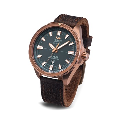 Vostok Europe Gent's Almaz Automatic Watch with Bronze Case and Genuine Leather Strap