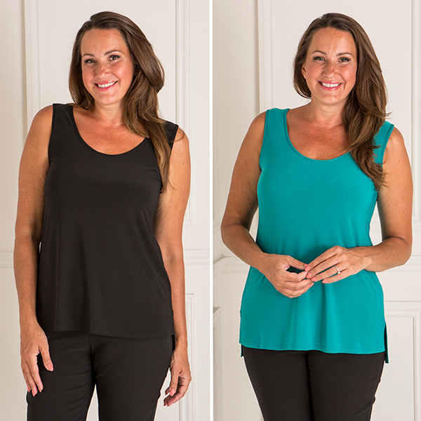 Styled By 2 Pack High Low Cami Black/Sea Green