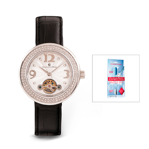 Constantin Weisz Ladies' Watch with Leather Strap and FREE Dazzle Stick Black