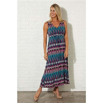 Lavitta Peacock print maxi dress 52in
