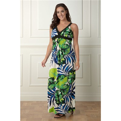 Lavitta Tropical Leaf Print Maxi Dress 52in