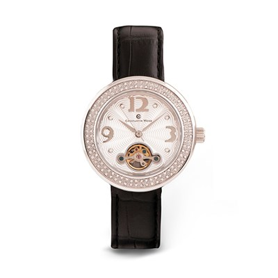 Constantin Weisz Ladies' Watch with CNC Crystals and Genuine Leather Strap
