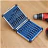 16pc Drill All Drill Bits with 10pc Diamond Tipped Screwdriver Bits, 4pc Reverse Action Drill Bit Set, Tool Bag & Diamond File