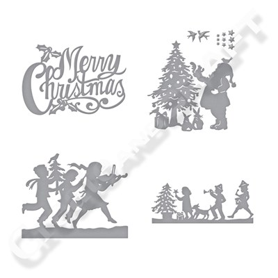Spellbinders Sharyn Sowell Merry Christmas Silhouette Collection With Free Merry Christmas Die