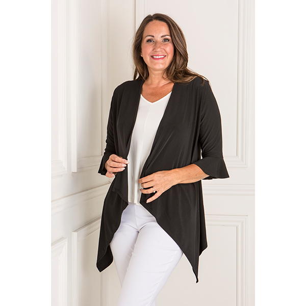 Reflections Frill 1/2 Sleeve Jacket Black