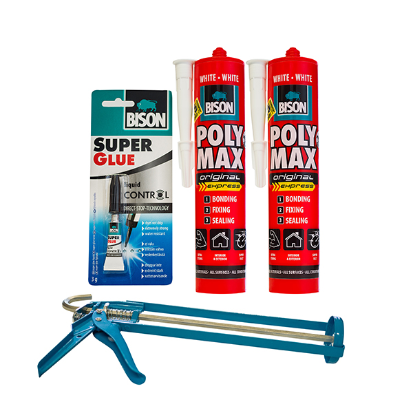 2 Tubes of Bison Polymax Original Express with Gun and Free Superglue 3g No Colour