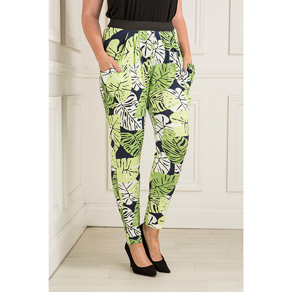 Nicole Leaf Jersey Drape Trouser With Elasticated Waist Print