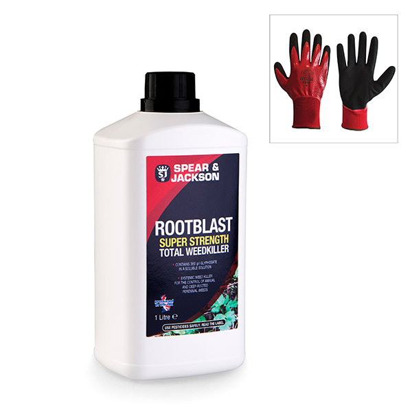 Spear & Jackson Root Blast Weedkiller with Grip It Gloves No Colour