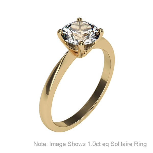Moissanite 9ct Gold 0.5ct eq Solitaire Ring Yellow Gold