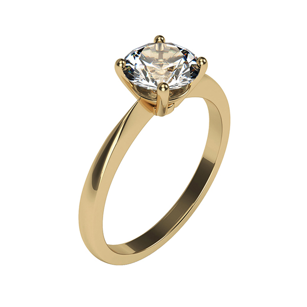Moissanite 9ct Gold 1.0ct eq Solitaire Ring Yellow Gold