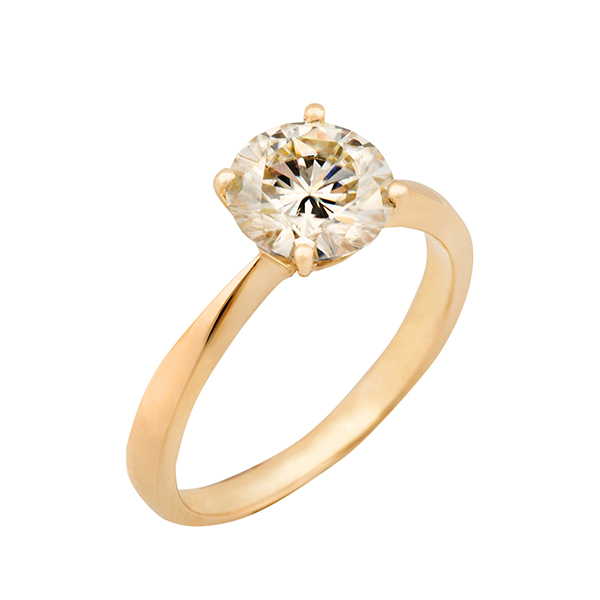 Moissanite 9ct Gold 2.0ct eq Solitaire Ring Yellow Gold