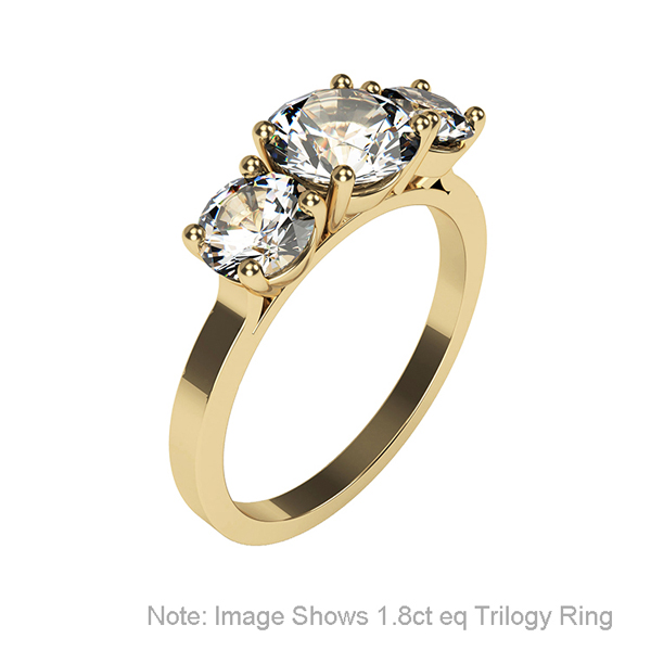 Moissanite 9ct Gold 0.79ct eq Trilogy Ring Yellow Gold