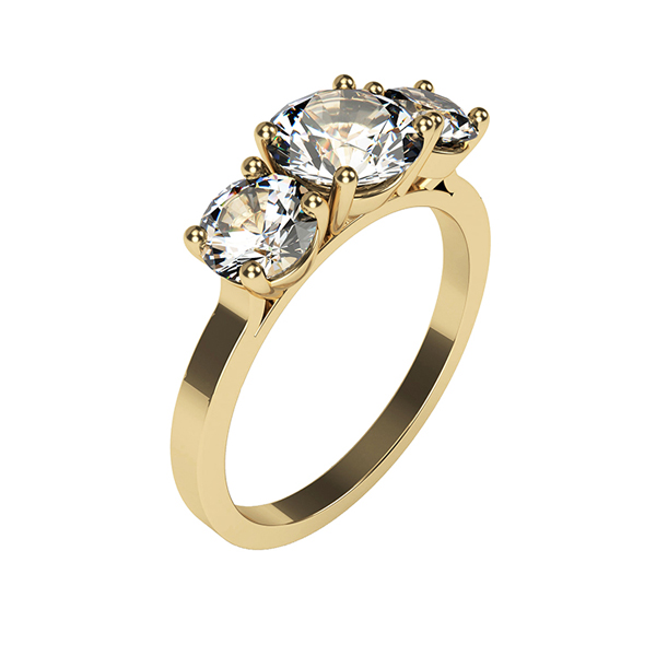 Moissanite 9ct Gold 1.8ct eq Trilogy Ring Yellow Gold