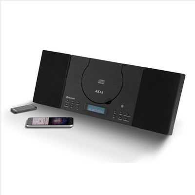 Akai Wall Mountable Home Audio Bluetooth System, with CD, MP3 and FM Radio, LCD Display and Wake Up Alarm - Black