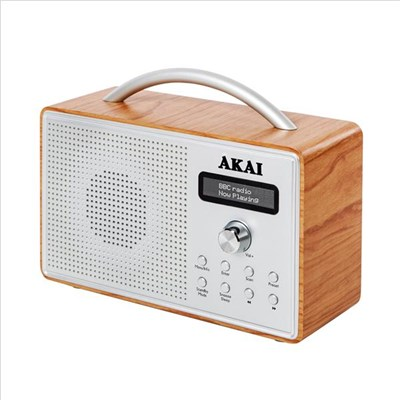 Akai DAB Radio with LED Screen, Alarm Clock and Sleep Timer � Oak