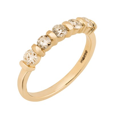 Moissanite 9ct Gold 0.5ct eq 5 Round Stone Ring