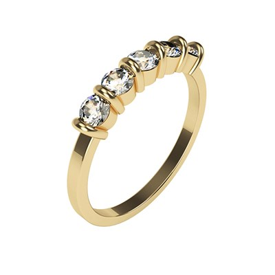 Moissanite 9ct Gold 1.15ct eq 5 Round Stone Ring