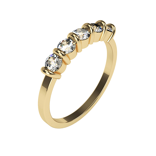 Moissanite 9ct Gold 1.15ct eq 5 Round Stone Ring Yellow Gold