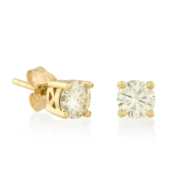 Moissanite 9ct Gold 1.0ct eq solitaire earrings Yellow Gold