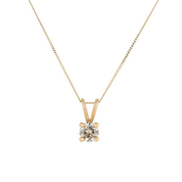Moissanite 9ct Gold 0.50ct eq Solitaire Pendant Yellow Gold