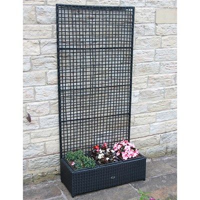 Rattan Planter with Trellis - 80 x 31 cm