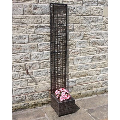 Rattan Planter with Trellis 30 x 30 cm