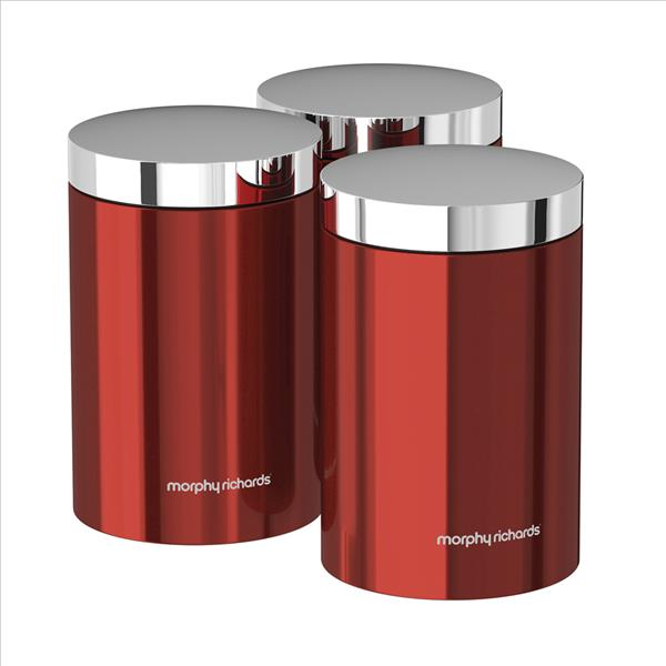 Set of 3 Storage Canisters Red