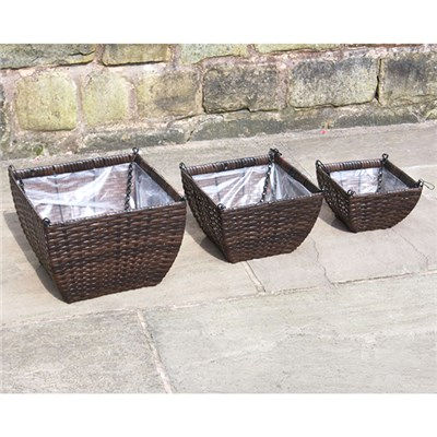 Set of 3 Rattan Hanging Baskets