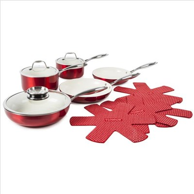Tower 9Pce Pro Metallic Pan Set Red - Red