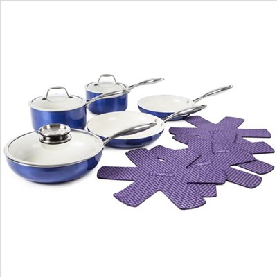 Tower 9Pce Pro Metallic Pan Set Blue - Blue