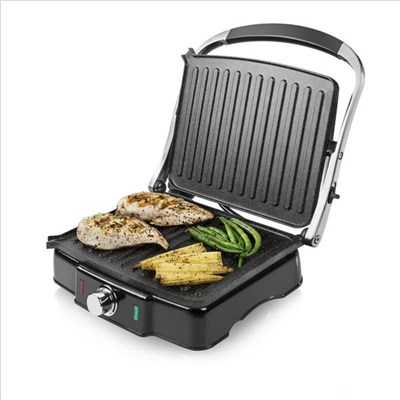 Tower 2000W 180 Degree Panini Grill with Cerastone Ceramic Plates - Silver