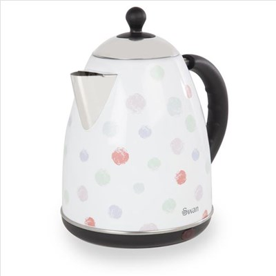 Swan Polka Dot Jug Kettle - White