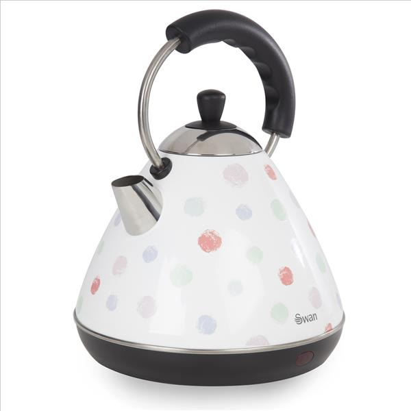 Swan 2 Ltr Pyramid Polka Dot Kettle - White