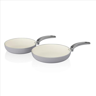 Swan Retro 2 Piece Frying Pan Set - Grey